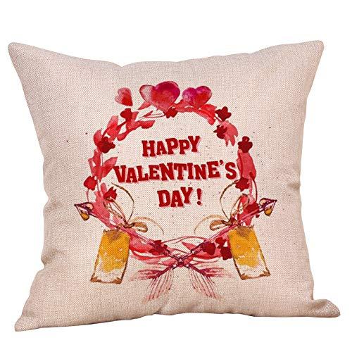 Xmiral Kissenbezüge Valentine Süß Geschenk Kissenbezüge Leinen Sofakissenbezug Paare Zubehör(D)