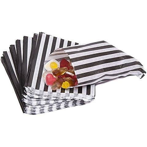 sacchetti di carta a righe porta-confetti Buffet regalo negozio partito caramelle torta nuziale 9colori Designs UK venditore stesso giorno spedizione, Black, 50 Bags