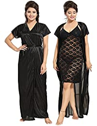 Noty Women's Satin Knee Length & Maxi Night Robe & Night Slip