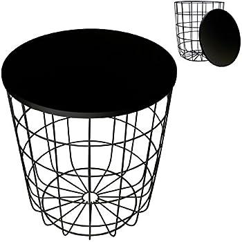 beistelltisch metall korb mit metall deckel zeitungskorb. Black Bedroom Furniture Sets. Home Design Ideas