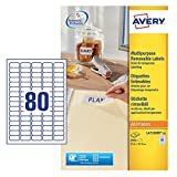 Avery Zweckform L4732REV-25 Etiketten (A4, 2000 Plus 400 Universal-Etiketten extra, ablösbar, 35,6 x 16,9 mm) 30 Blatt, weiß
