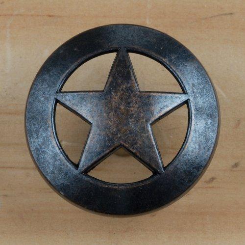 Set von 6Lone Star Schublade zieht Möbelknopf Western Southwest Decor Texas, Oil-Rubbed Brass, 101/2