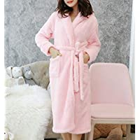 TUJHGF Woman In Autumn And Winter Padded Bathrobes Warm And Simple Cute Home Nightgown,Pink-XL