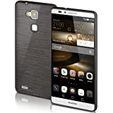 Funda protectora OneFlow para funda Huawei Ascend Mate 7 Carcasa silicona TPU 1,5mm | Accesorios cubierta protección móvil | Funda móvil paragolpes bolso cepillado aluminio diseño en Slate-Black