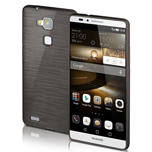 OneFlow Schutzhülle für Huawei Ascend Mate 7 Hülle Silikon Case aus 1,5mm dünnem TPU   Zubehör Cover zum Handy Schutz   Handyhülle Bumper Tasche Gebürstet Aluminium Optik in Schwarz