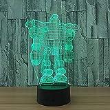 LWYFADS 3D Lampe Illusion,Night Light Robot 3D Lampe 7 Couleur LED Veilleuses Enfants Touch LED USB Baby Slee Veilleuse Illusion Capteur LED
