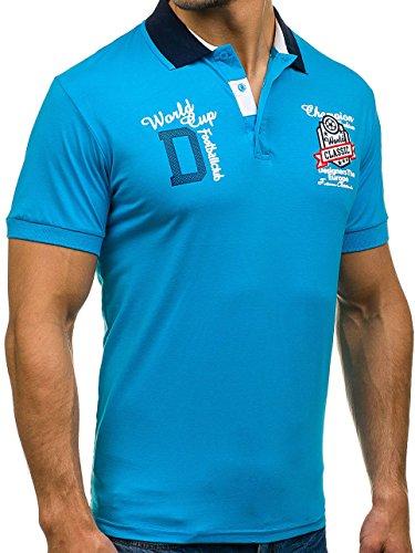 BOLF Herren Polo T-Shirt Tee Polo Hemd Kurzarm Slim Casual Party 3C3 Motiv Blau
