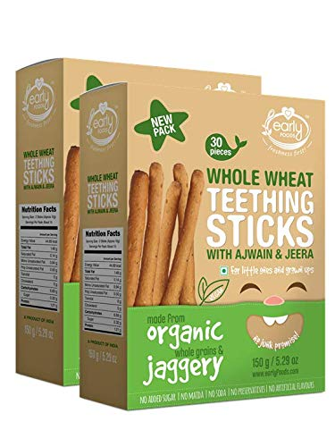 Early Foods - Pack of 2 - Whole Wheat Ajwain Jaggery Teething Sticks 150g X 2