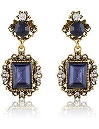 Moonlit Blue & Gold Alloy Dangle & Drop Earrings For Women (moonlit128)