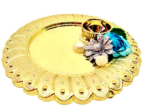 HALO NATION Karwachauth Pooja Thali,Diwali Pooja Thali Elegent Handmade in Golden Plate , Haldi holder decorated with Flowers and crystals  available at amazon for Rs.449