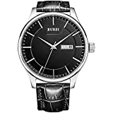 BUREI Men Watch Mens Precise Quartz Wristwatches with Day and Date Calendar Display Leather Strap (negro)
