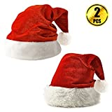 WXJ13 2 Pack Plush Christmas Santa Hats for Childrens and Adults Celebrations and Recreation