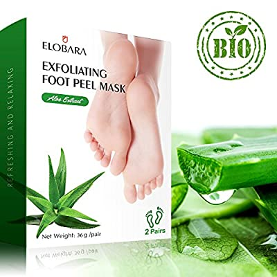 Elobara Exfoliating Foot Peel Mask, 2 Pairs Foot Mask, Remove Callus and Dead Skin, Baby Your Feet Soft and Smooth