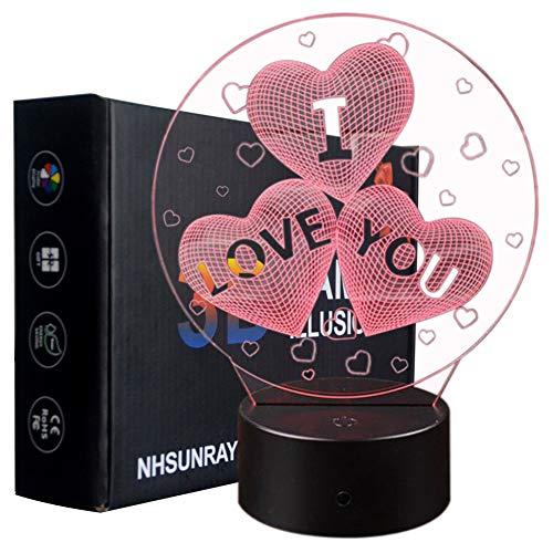 3D Lámpara de Escritorio Mesa 7 cambiar el color botón táctil de escritorio del USB LED lámpara de tabla ligera Decoración para el Hogar Decoración para Día de San Valentín Mejor Regalo (TE AMO)