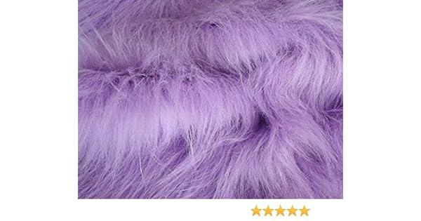Pelo Sintetico lungo e Spesso Materiale Tessuto Viola Lilla Sample 10cmx10cm