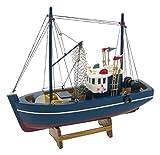 Générique - Oggetto Decorativo, Barca da Pesca in Legno, 30 x 30 x 8,5 cm, Legno, Blu, 30x30x8.5 cm