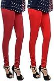 Her Rang Women's Chudidar Leggings, Combo Pack of 2, Maroon and Red