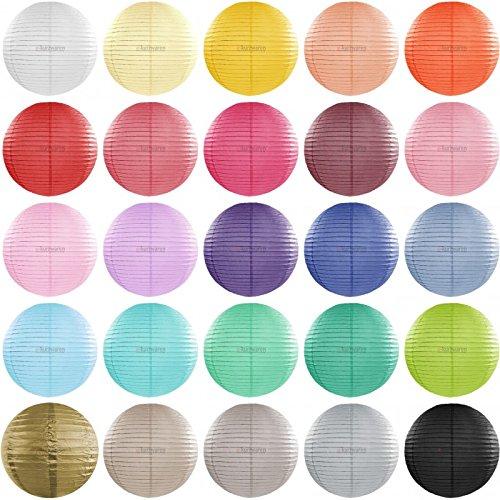 e-kurzwaren Papier Lampion 20/25 / 35/45 / 55 cm Papier Laterne Lampions Rund Lampenschirm Hochtzeit Dekoration Papierlaterne Pompon Durchmesser Verschiedene Größen (Lampions Verschiedene Farben)