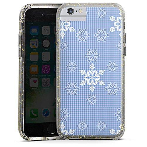 Apple iPhone 6 Bumper Hülle Bumper Case Glitzer Hülle Schneeflocken Weiss Blau Pattern Bumper Case Glitzer gold