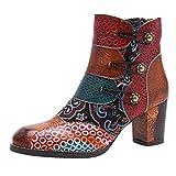 Botas De Mujer Altos Tacón con Costura Artesanal Retro Botines con Cordones Zapatos de Mujer Tacón Grueso Otoño Invierno Comodos Botas de Nieve riou