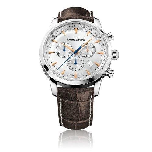 Louis Erard Men's 42mm Chronograph Brown Calfskin Quartz Watch 13900AA11.BDC101