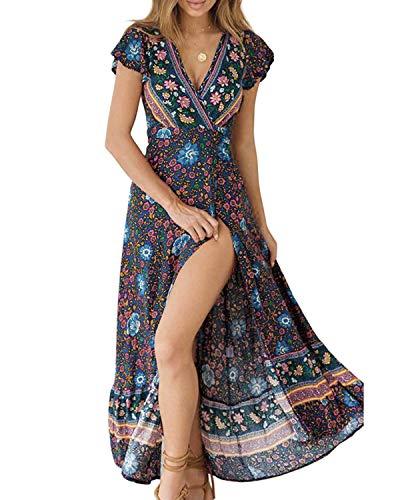ABRAVO Damen Sommerkleid Böhmen Kleider Beiläufig Frauenkleid Minikleid Swing Kurze Ärmel Strandkleider (S=EU 32-34, Z-Blau)