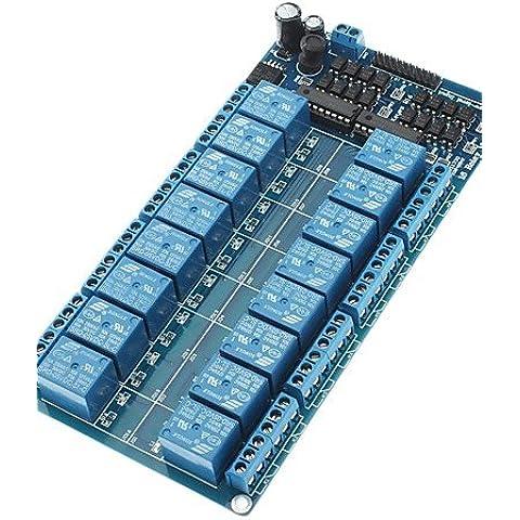XMQC*16-Channel 5V Modulo relè bordo W/ alimentazione LM2576 / Protezione optoaccoppiatore - Blu
