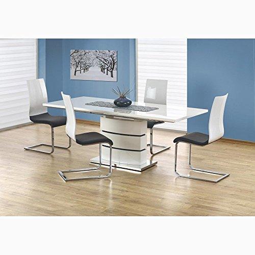 JUSTyou Table de Salle à Manger Nobel Extensible Blanc laqué Haute Brillance (LxlxH): 160÷200/90/75 cm