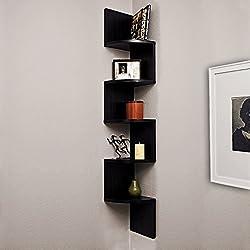 A10 Shop Corner Wall Mount Shelf Unit Zigzag Shape -Wenge Finish