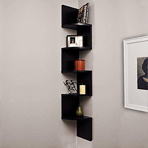 A10 Shop Corner Wall Mount Shelf Unit Zigzag Shape -Wenge Finish  available at amazon for Rs.1289