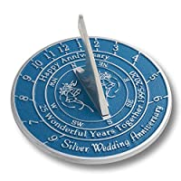 The Metal Foundry 25th Silver 2020 Wedding Anniversary Sundial Gift. Solid Recycled Metal Gift Idea Is A Great Present For Him, Her, Parents, Grandparents Or Couple On 25 Years Of Marriage