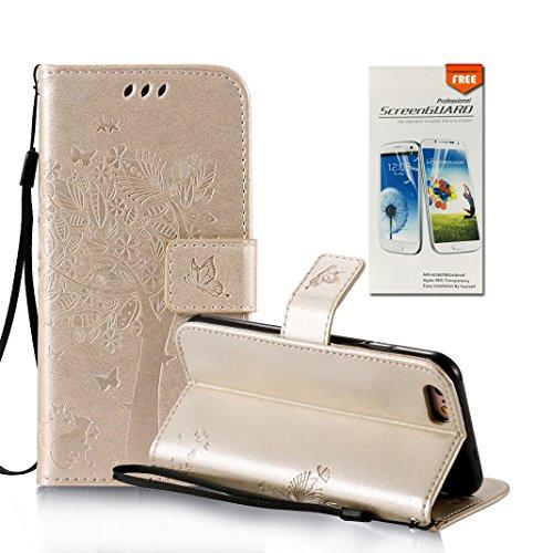 OuDu Impressum Muster Hülle für iPhone 6 PLUS/6S PLUS PU Leder Handyhülle Klapp Buch-Stil Ledertasche Baum&Schmetterling Schale Einzigartige Entwurf Tasche Kompletter Schutzhülle Flip Wallet Case Sili Gold
