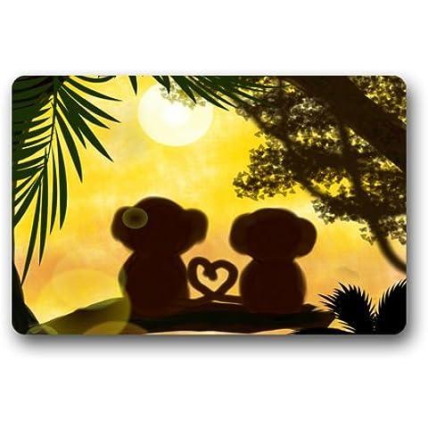 Amazing Sunset Giungla Love Scimmia non tessuto Top Zerbino Tappetino per interni/esterni, 23.6
