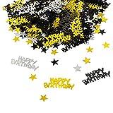 Nuluxi Nero Argento Oro Coriandoli Coriandoli Buon Compleanno Colorati Buon Compleanno Stella Coriandoli Usato per Matrimonio Compleanno Anniversario Partito Celebrazione Ideale Decorazione (1 Borsa)