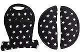 Coussinets de protège ceinture universel pour siège auto et poussette - Noir avec des étoiles ♥