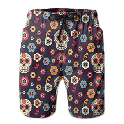 Magictop Schnelltrocknende Badebekleidung für Herren Beachwear Candy 骷髅 Rose L - Candy-bar-handys
