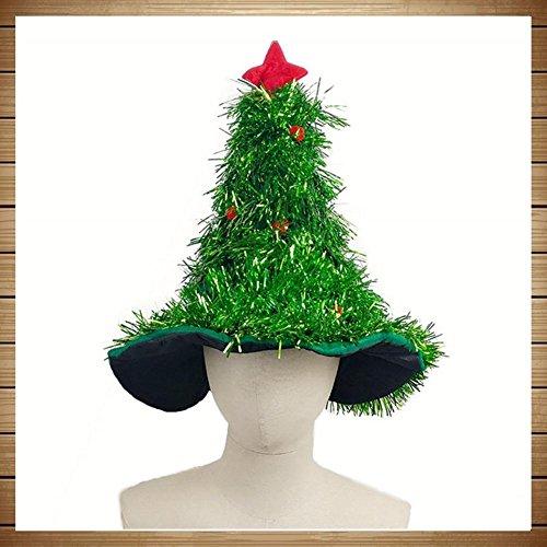 CDELEC 1 STÜCK Lustige Lametta Netter Weihnachtsbaum Hut Stirnband Kostüm Hut Santa Dekorationen Kopfbedeckungen Weihnachtsbaum Hüte (Grün)