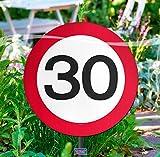 Verkehrszeichen 30' Gartenschild, ca. 25 cm Ø, Kunststoff