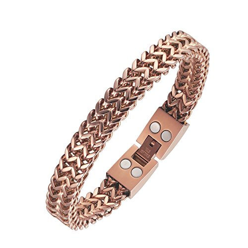 22 cm mit fester Länge Magnet Armband Rose Gold Weizen Kette Energie Armbänder für Männer Arthritis Schmerzlinderung