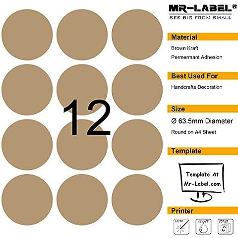 Mr-Label 300 en blanco etiquetas de café Kraft - 63,5 mm (diámetro) - Para láser y de inyección de tinta de impresora - 25 hojas