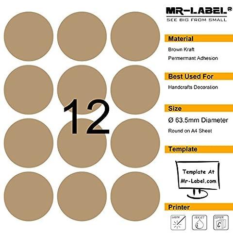 Mr-Label 300 Blank Labels Brown Kraft - 63.5mm (diamètre) - Pour Laser et Jet d'encre - 25 feuilles