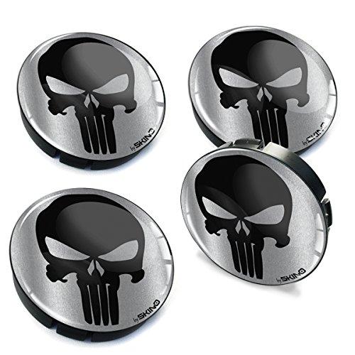 Skino 4 x 60mm Coprimozzi Copricerchi Tappi Ruote Punisher Skull Teschio Auto Logo Stemma Adesivo C 79