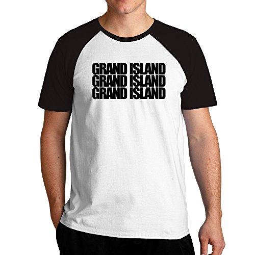 Eddany Grand Island three words Raglan T-Shirt (Stadt Island Von Grand)
