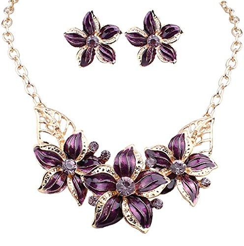 Dairyshop Gli orecchini placcati oro delle donne di modo hanno fissato gli orecchini della collana di dichiarazione del fiore di cristallo (Bianco) Viola