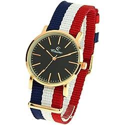montre-concept-Multi-Coloured Round Colour Rose Gold Black Dial Nylon Bracelet Men's Analogue Watch-mab-1-0090