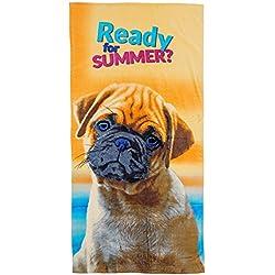 gibra® playa toalla, 70x 140cm), diseño de perro carlino