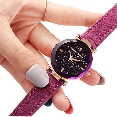 Damen Uhren, L'ananas 2018 Sternenhimmel Shine Japan Bewegung Mode PU-Leder Band Quarz Uhren Armband Mit Geschenkbox (Lila)