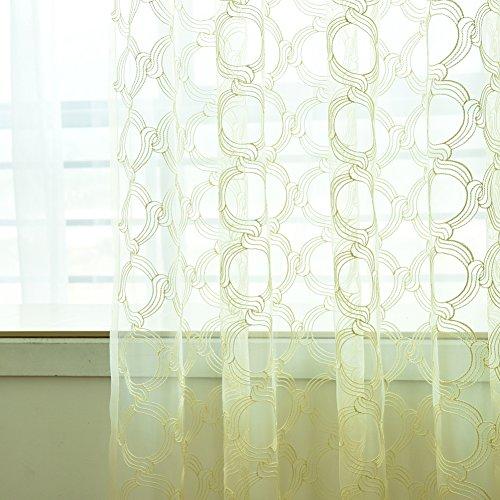 display08Fashion Sheer Fenster Vorhang rund Kreise Panel Fall Raumteiler Decor beige (Raumteiler Kreis)