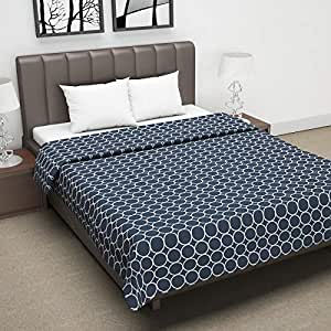 Divine Casa Twilight Abstract 110 GSM Microfiber All Weather Double Dohar - Blue