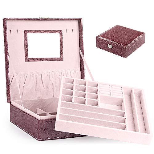 Portagioie Scatole per Gioielli Porta Gioielli Beauty Case Salvaspazio Scatola Custodia Box Cofanetto -Scatola con Specchio Scatola anello (Modello coccodrillo – Viola)
